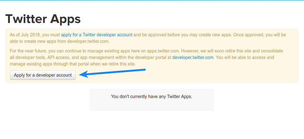 Apply for Twitter Developer Account