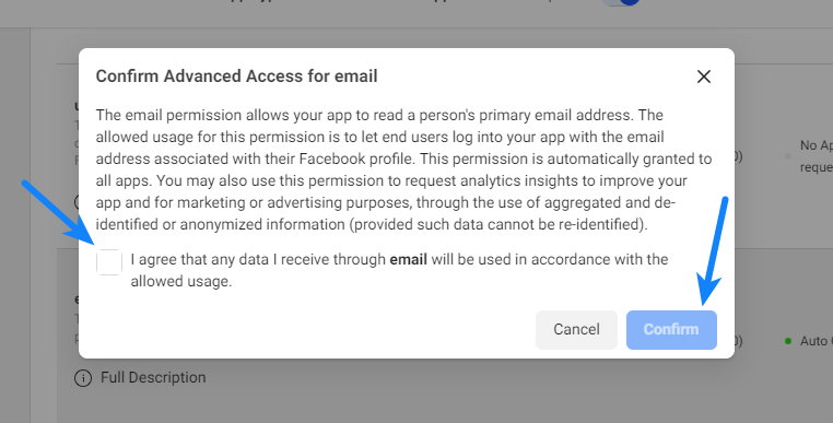 Confirm Advanced Access for Email