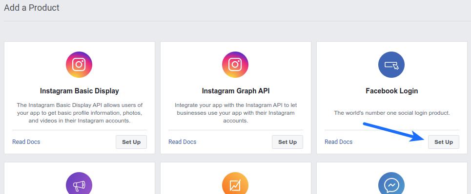 Facebook Login - Add a Product