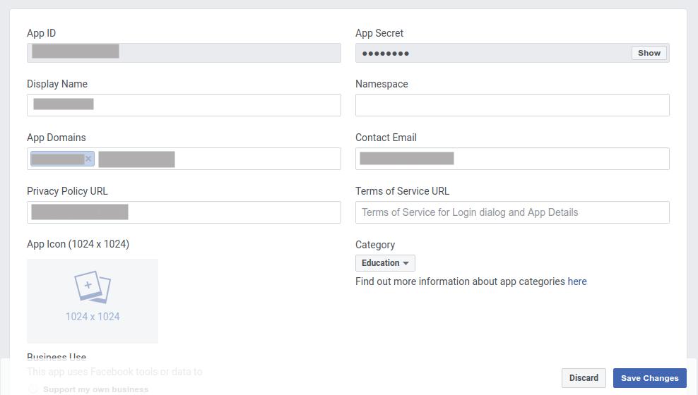 Facebook Login App Domains