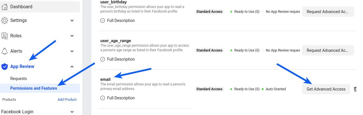 Facebook Login - Email Advanced Access