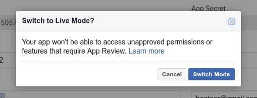 Facebook Login Live Mode