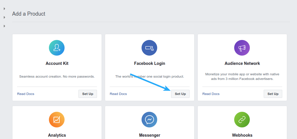 Facebook Login - Product Setup