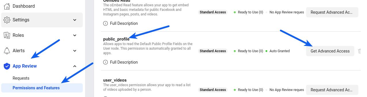 Facebook Login - Public Profile Advanced Access