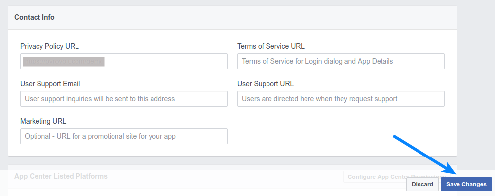 Facebook Login - Save App Details