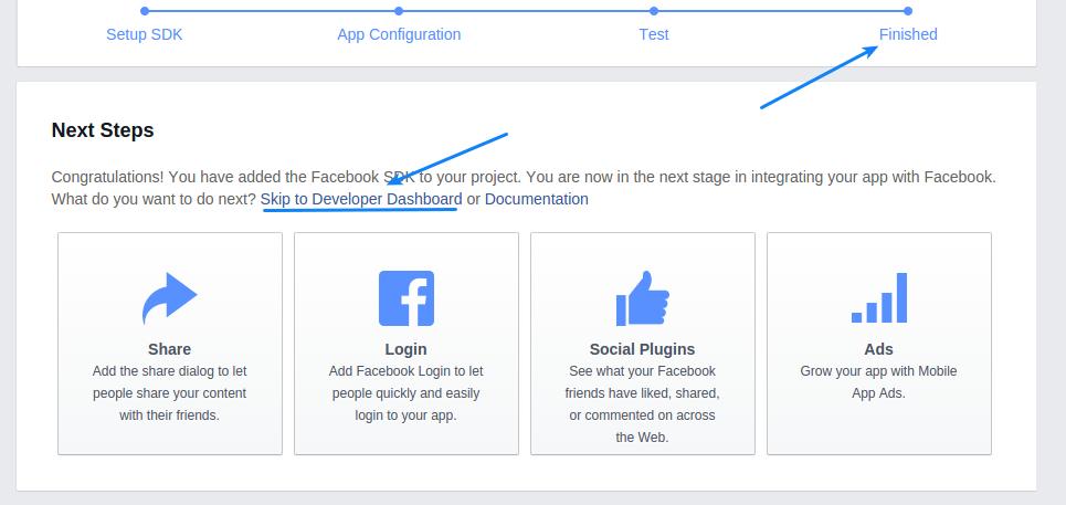 Facebook app developer dashboard