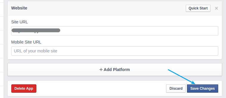 Facebook app save changes