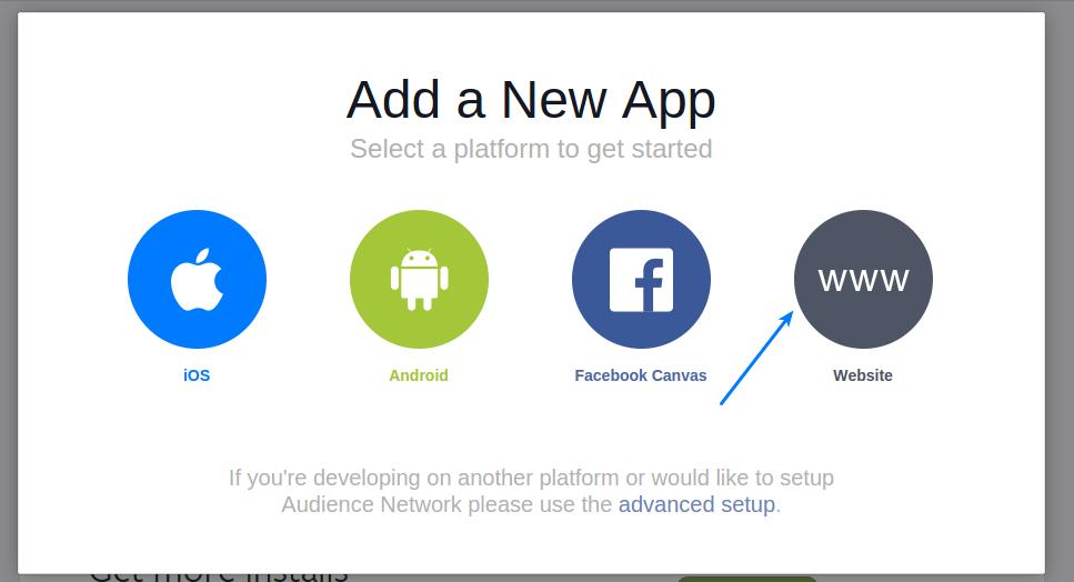 Facebook app select website
