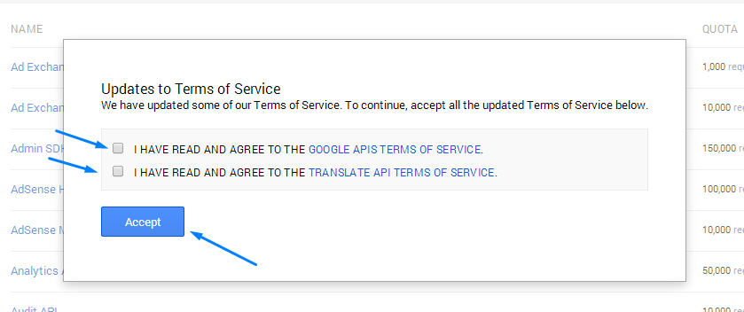 Google App Terms and Service