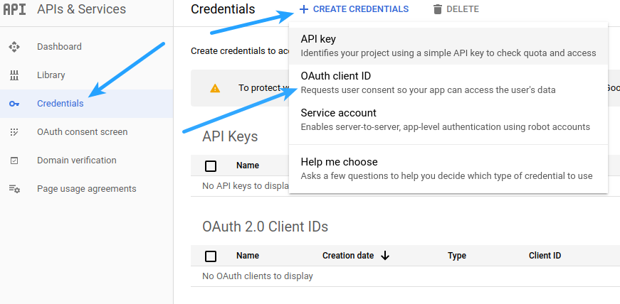 Google Login Create Credentials