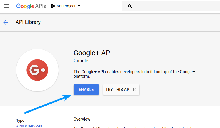 Google Login - Enable GooglePlus API