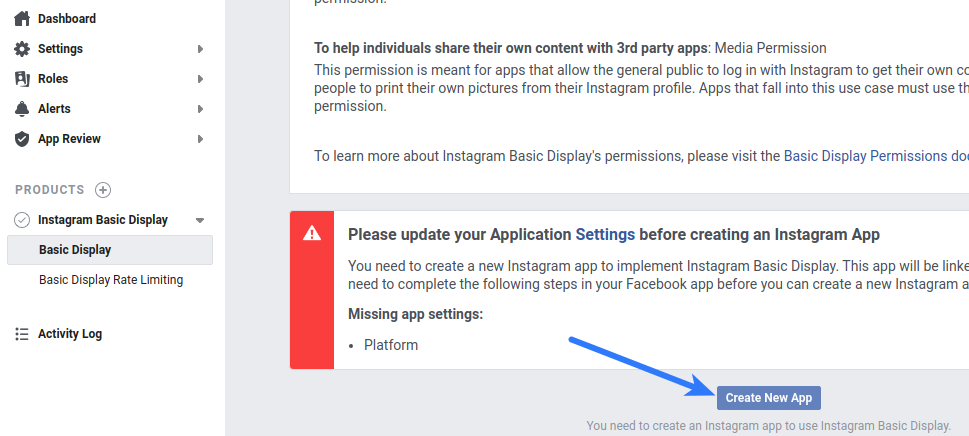 Instagram Login - Create New App