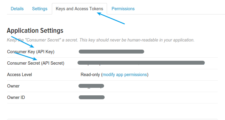 Twitter Login - Twitter App Keys and Access Tokens