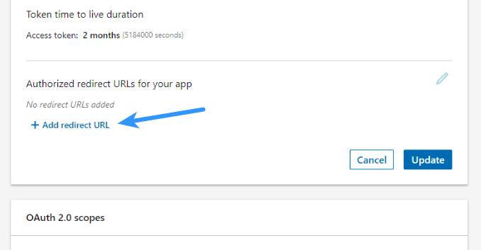 Linkedin Login - Add Redirect URL