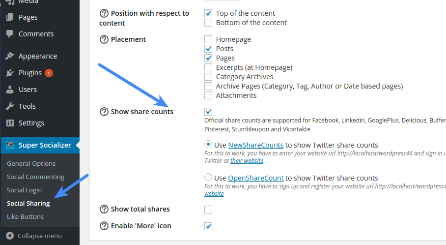 Social Sharing Enable Share Counts