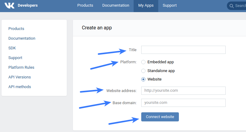 Vkontakte Application Fields