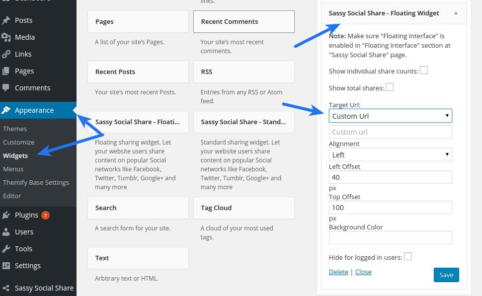 Share Specific Page - Widget Target Url