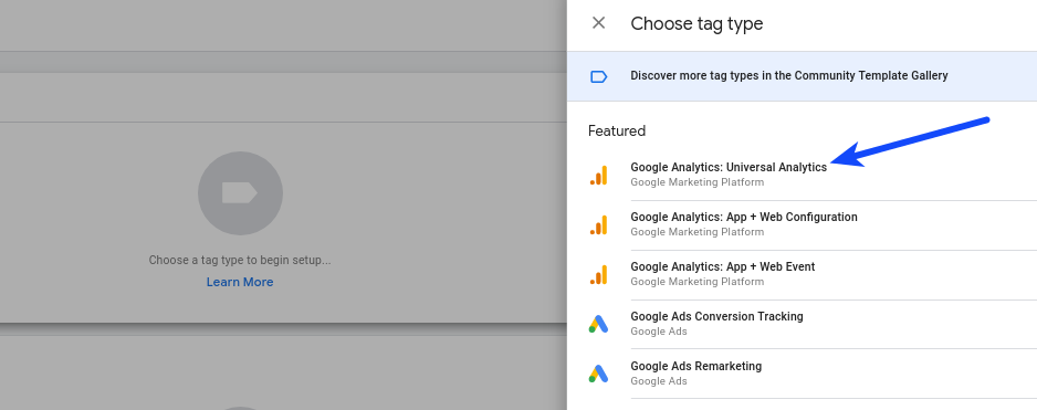 Google Tag Manager Configure Tag