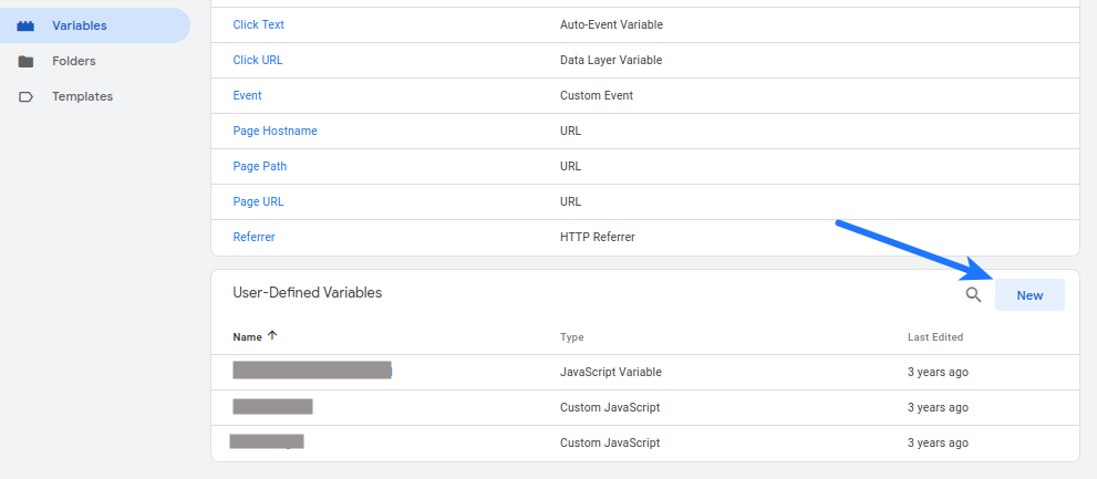 Google Tag Manager New Variable