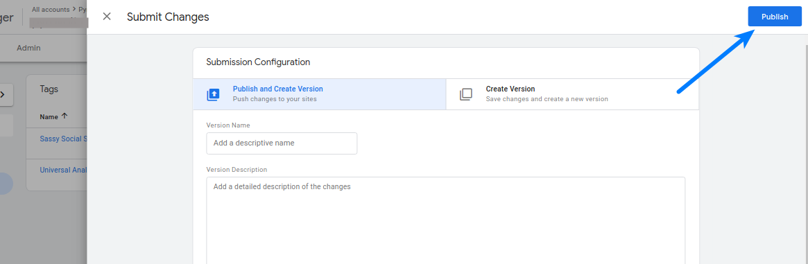 Google Tag Manager Publish