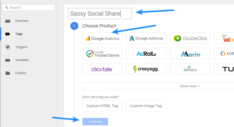 Google Tag Manager - Tags Choose Product