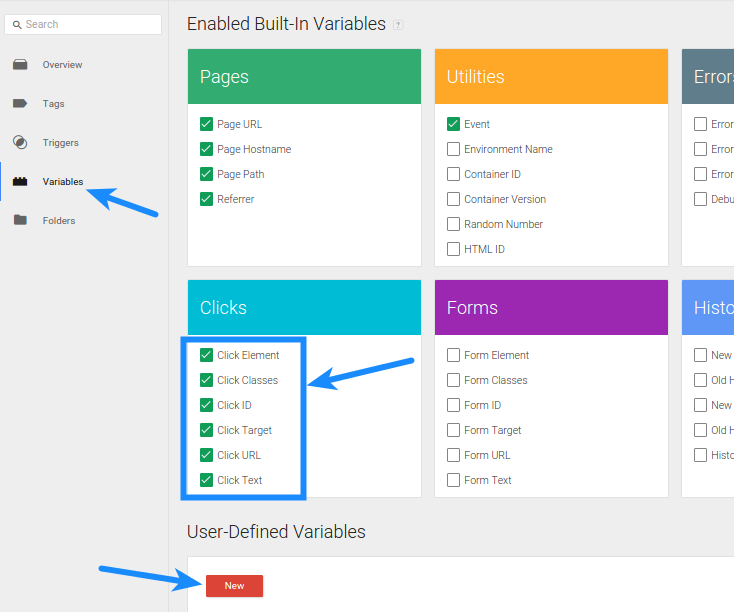 Google Tag Manager - Variables Clicks