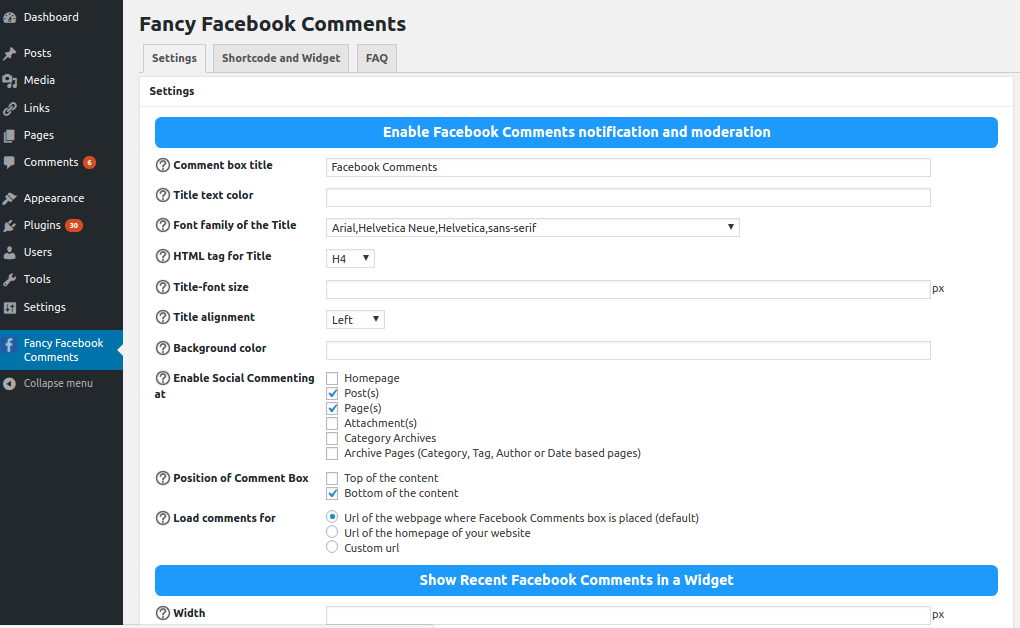 Facebook Comments - Options