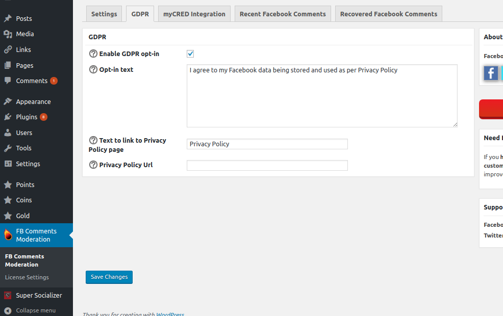Moderate Facebook Comments GDPR Options