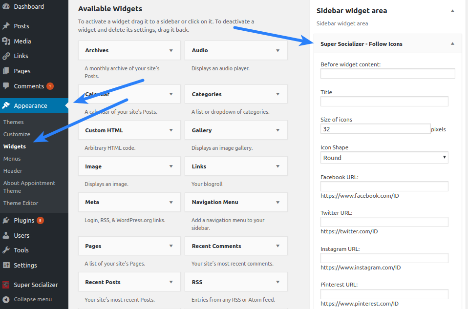 Super Socializer Configuration Follow Icons