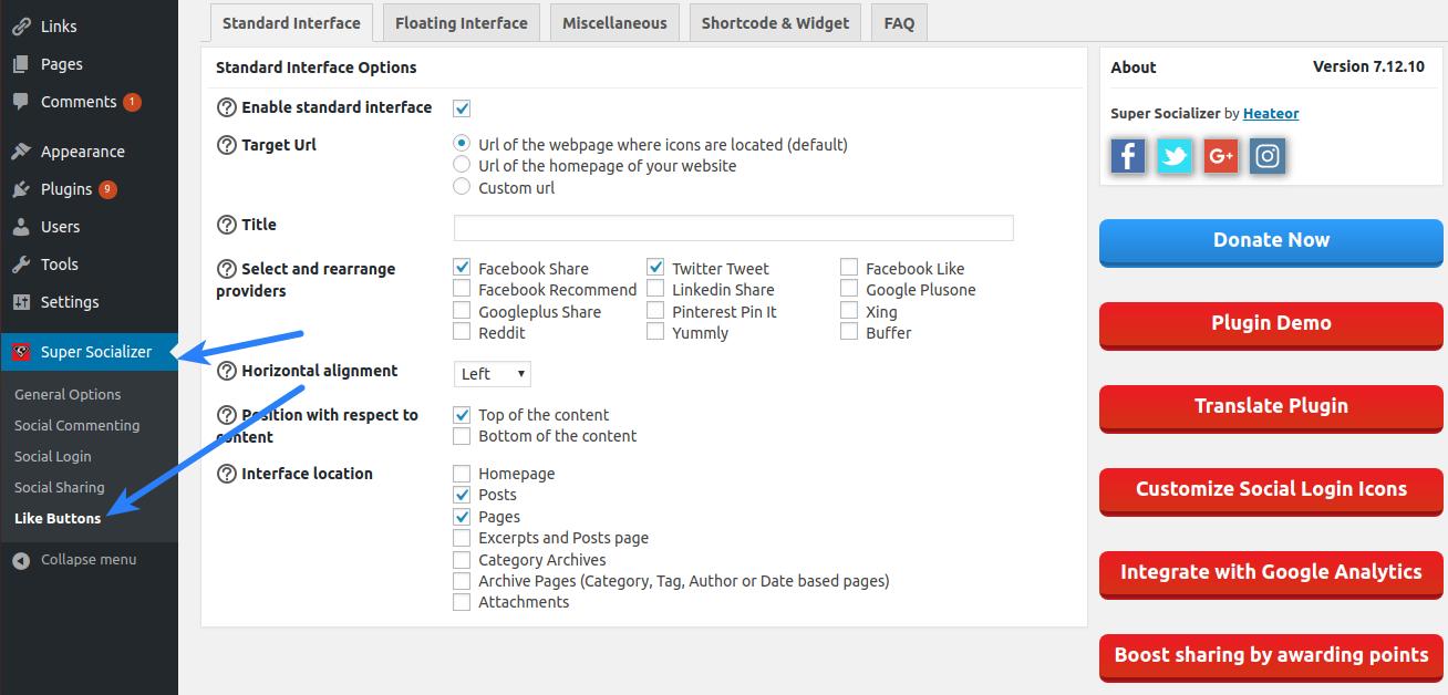 Super Socializer Configuration - Like Buttons