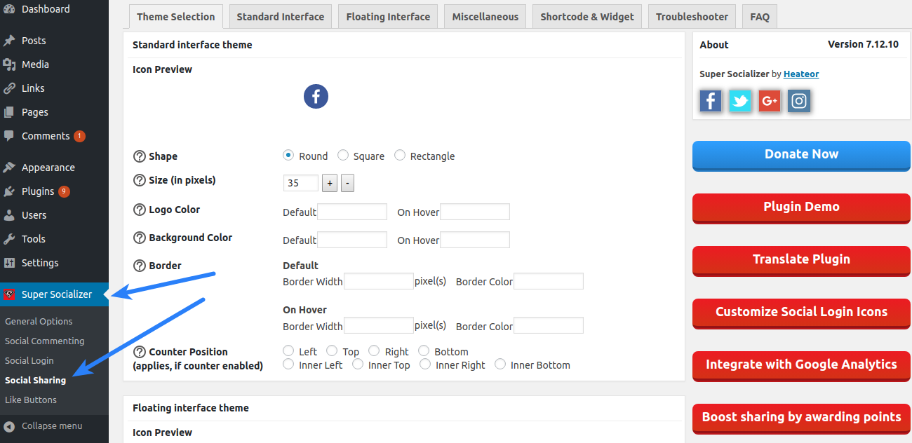 Super Socializer Configuration - Social Share