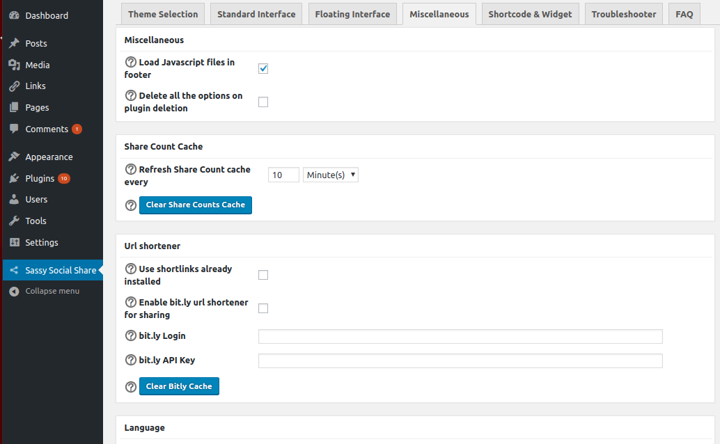 Configure Sassy Social Share - Miscellaneous