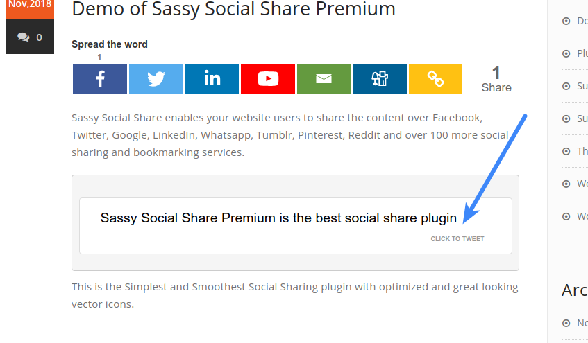 Configure Sassy Social Share Premium - Click to Tweet