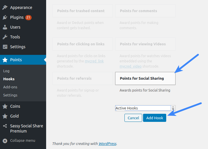 Configure Sassy Social Share Premium - Points for Social Sharing