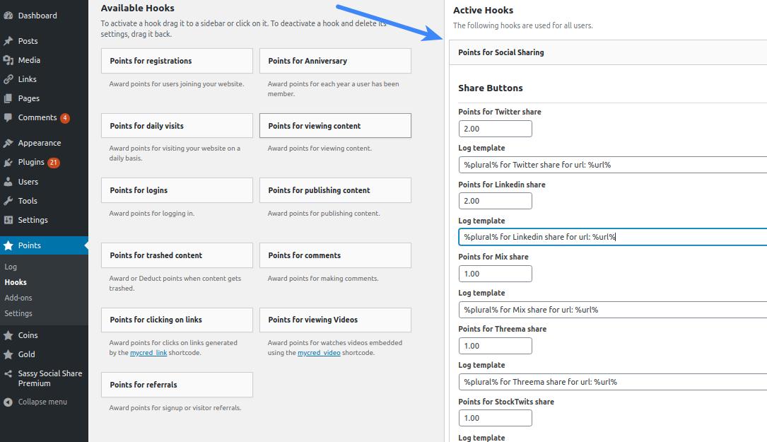 Configure Sassy Social Share Premium - myCRED Active Hooks
