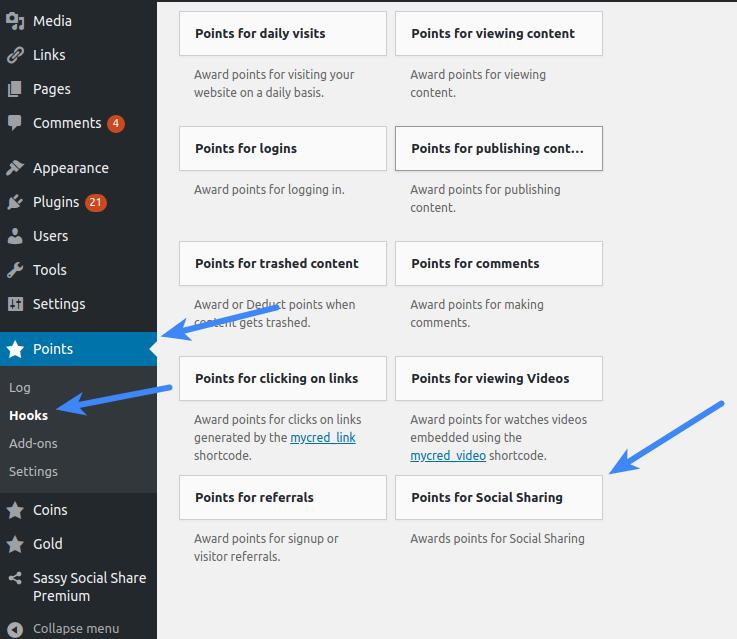 Configure Sassy Social Share Premium - myCRED Hooks
