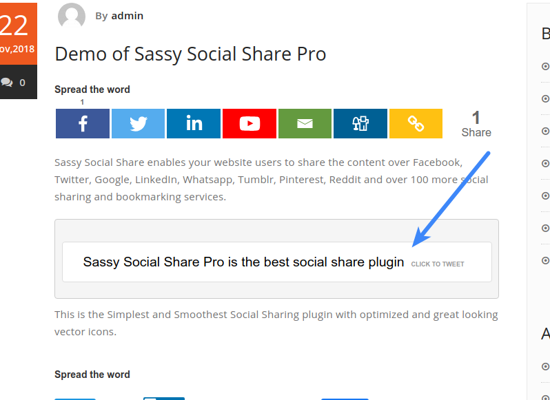 Configure Sassy Social Share Pro - Click to Tweet