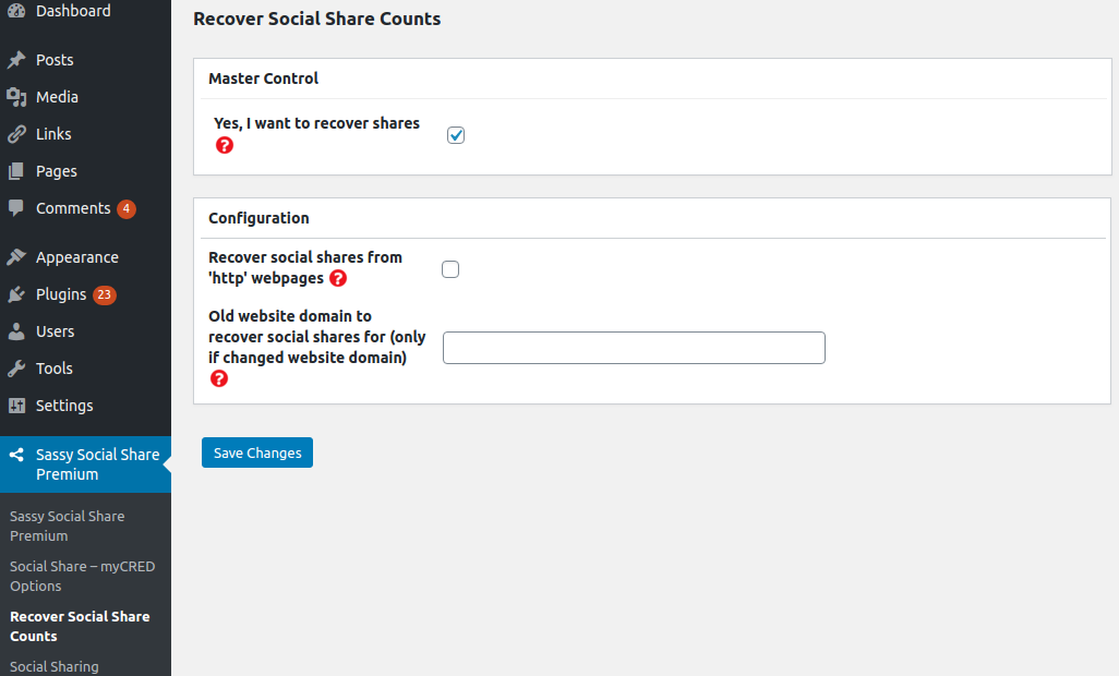 Sassy Social Share Premium - Recover Social Share Counts