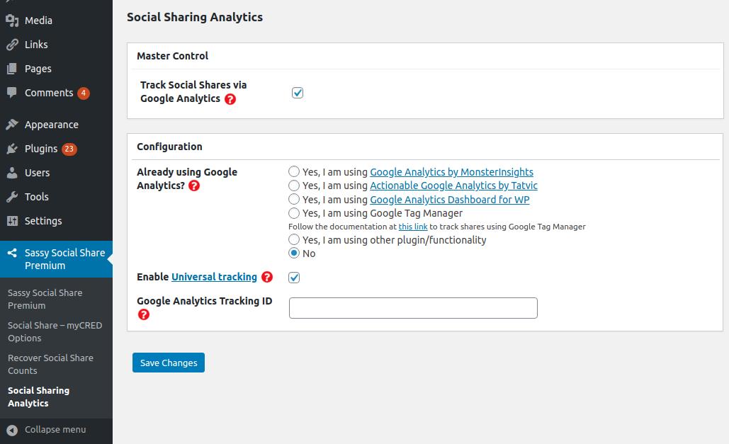 Configure Sassy Social Share Premium - Social Analytics