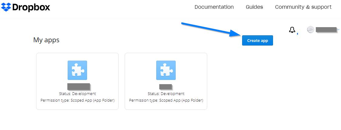 Dropbox App Key - Create Dropbox App