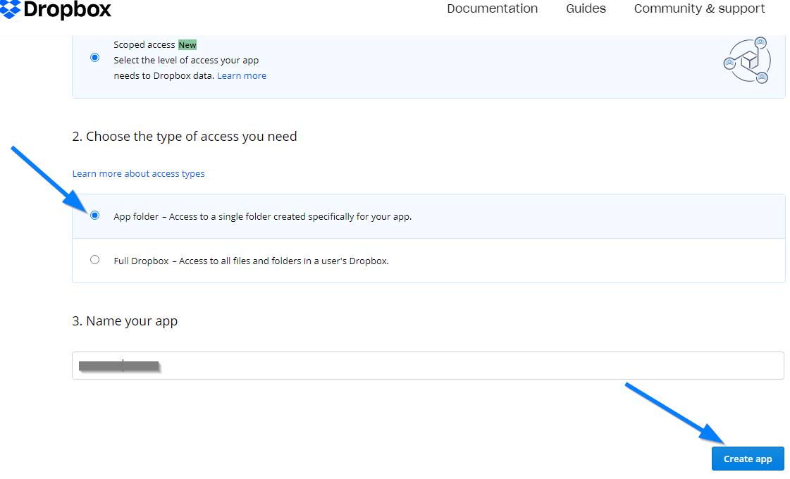 Dropbox App Key - Create Dropbox Application