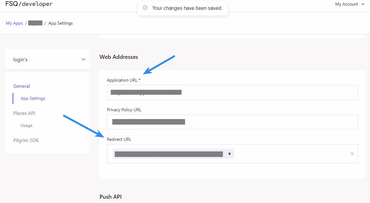 Foursquare Client ID - App Settings