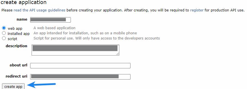 Reddit Client ID - Create Application