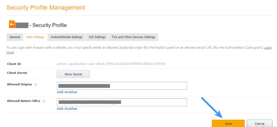 Amazon Client ID - Allowed Return URLs
