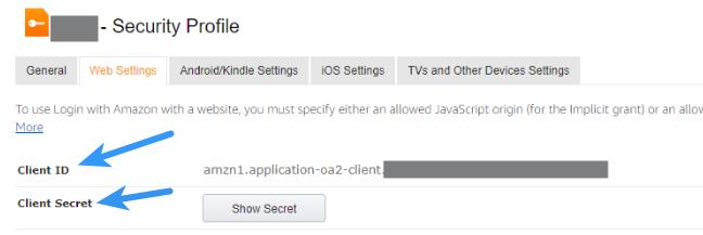 Amazon Client ID  -Client Secret