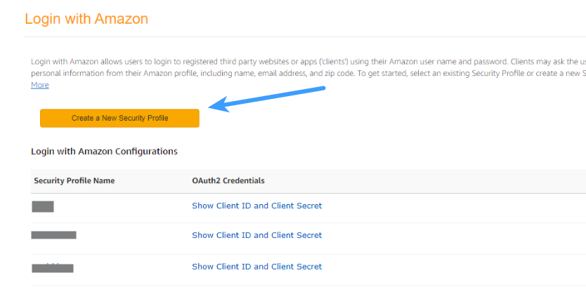 Amazon Client ID - Create a New Security Profile