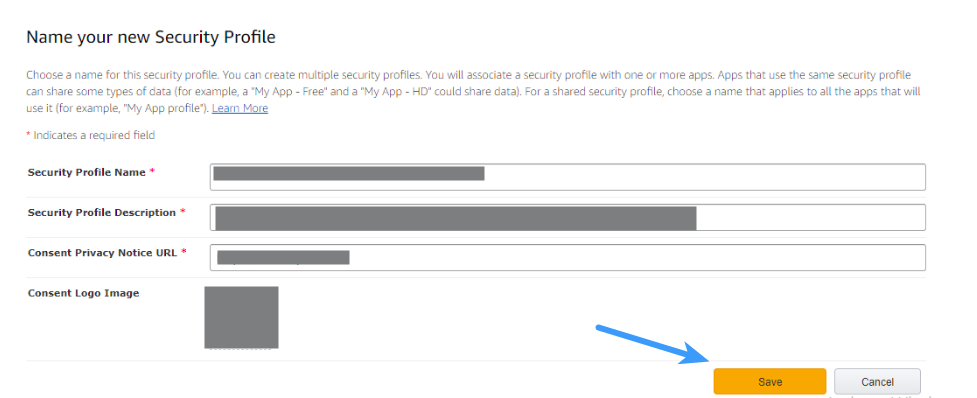 Amazon Client ID - Name your New Security Profile