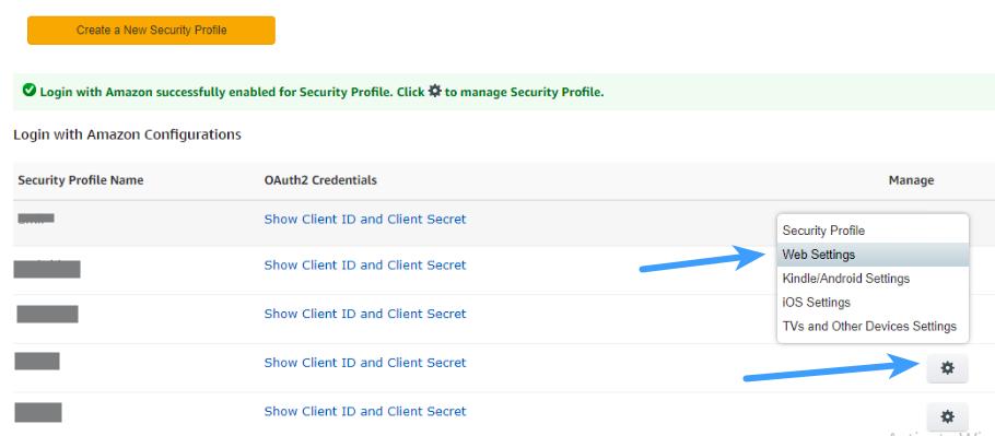 Amazon Client ID - Web Settings