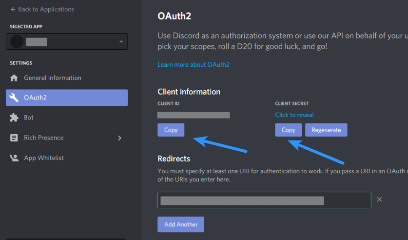 Discord Client ID - Discord Client Secret